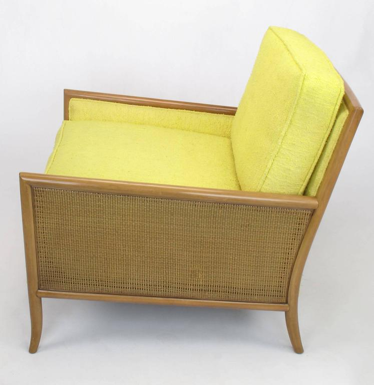 Bleached Pair of Walnut & Yellow Haitian Cotton Lounge Chairs after TH. Robsjohn-Gibbings For Sale