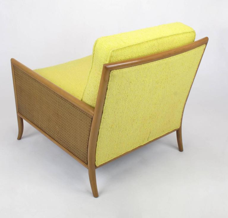 Pair of Walnut & Yellow Haitian Cotton Lounge Chairs after TH. Robsjohn-Gibbings In Good Condition For Sale In Chicago, IL