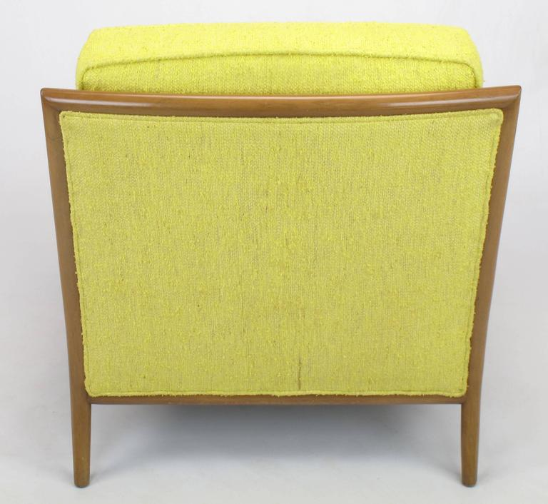 Mid-20th Century Pair of Walnut & Yellow Haitian Cotton Lounge Chairs after TH. Robsjohn-Gibbings For Sale