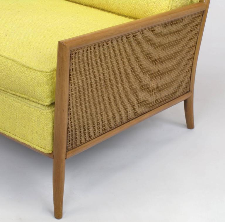 Cane Pair of Walnut & Yellow Haitian Cotton Lounge Chairs after TH. Robsjohn-Gibbings For Sale