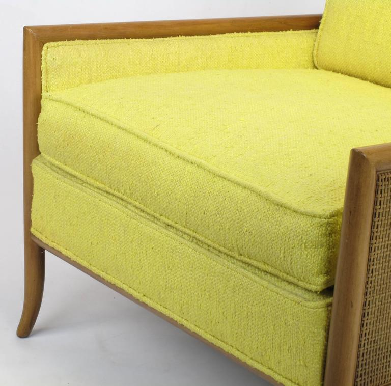 Pair of Walnut & Yellow Haitian Cotton Lounge Chairs after TH. Robsjohn-Gibbings For Sale 1