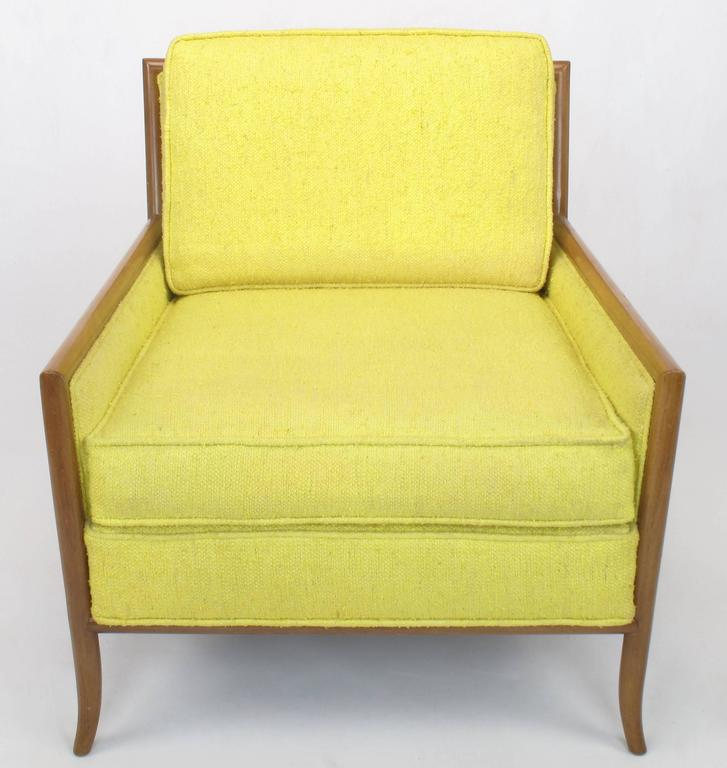 Mid-Century Modern Pair of Walnut & Yellow Haitian Cotton Lounge Chairs after TH. Robsjohn-Gibbings For Sale