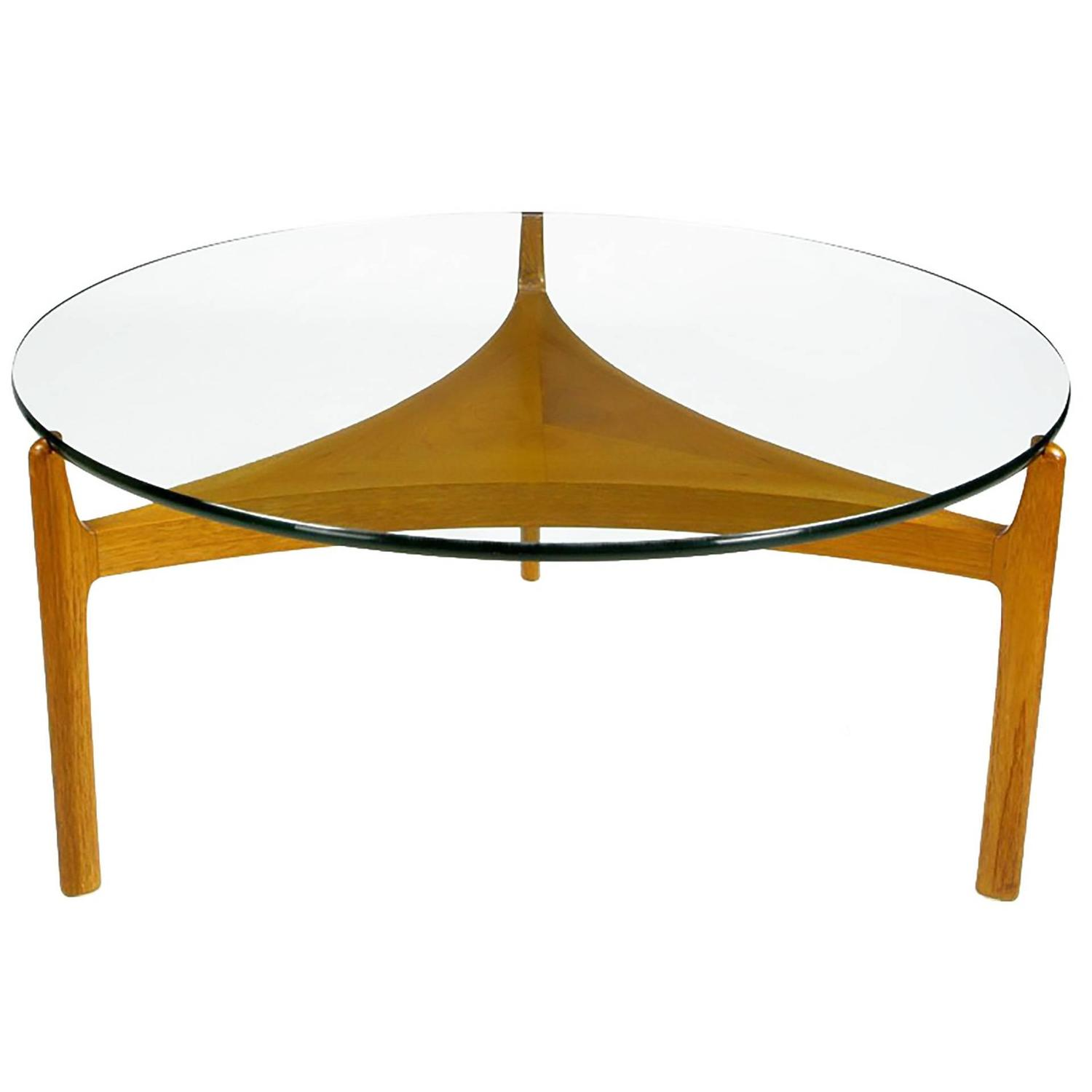 Danish Modern Rosewood and Ebony Glass Coffee Table by Sven