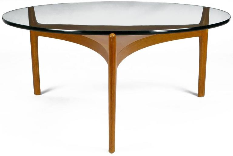 Sven Ellekaer Teakwood Reverse Trefoil And Round Glass Coffee Table. A Fine  Example Of Refined