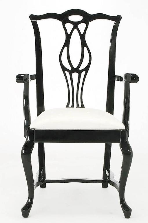 Lacquered Six Italian Black Lacquer Chinese Chippendale Style Dining Chairs For Sale