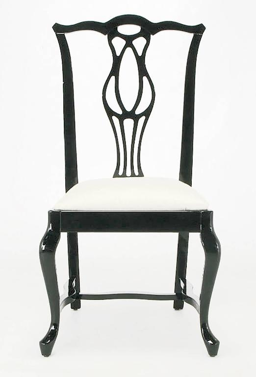Six Italian Black Lacquer Chinese Chippendale Style Dining Chairs In Good Condition For Sale In Chicago, IL