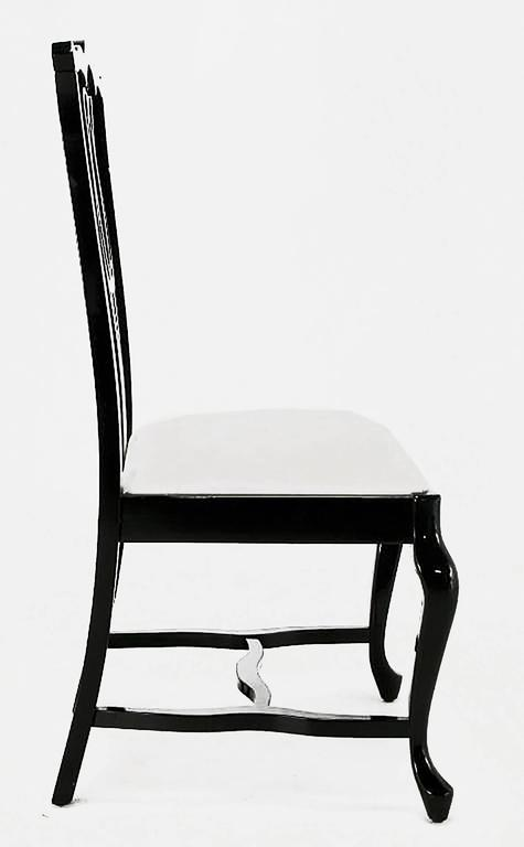 Mid-20th Century Six Italian Black Lacquer Chinese Chippendale Style Dining Chairs For Sale