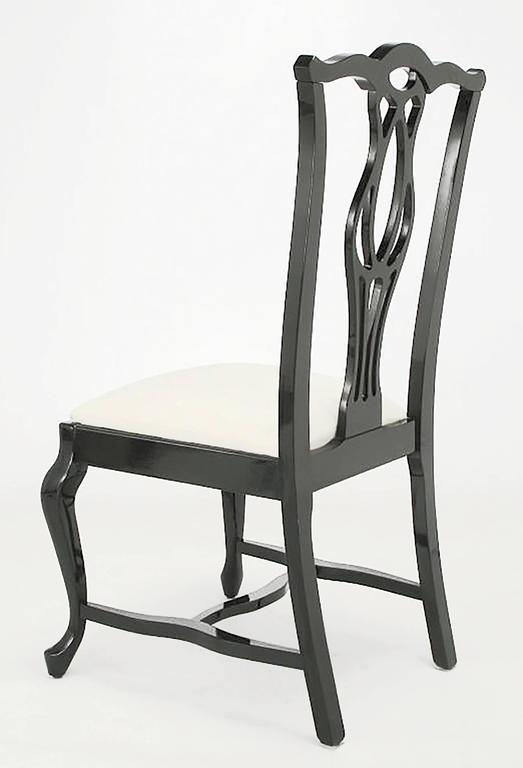 Wood Six Italian Black Lacquer Chinese Chippendale Style Dining Chairs For Sale