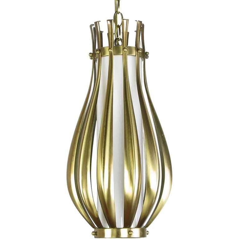 Mid-Century Modern Gourd-Form Brushed Brass and Milk Glass Pendant Light For Sale