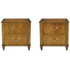 Pair of Baker French Cherry and Brass Fall-Front Nightstands