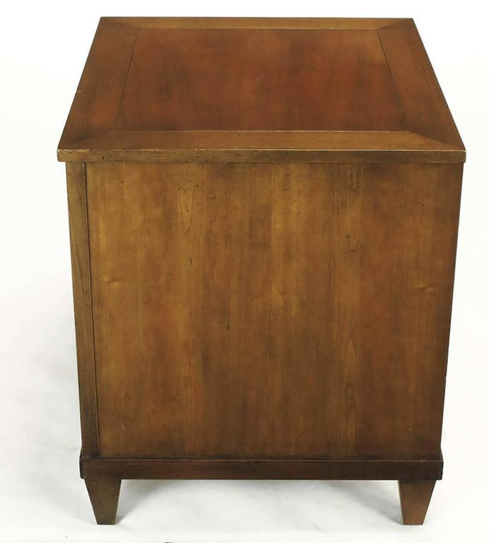 Pair of Baker French Cherry and Brass Fall-Front Nightstands In Good Condition For Sale In Chicago, IL