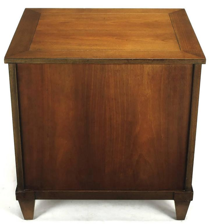 Mid-20th Century Pair of Baker French Cherry and Brass Fall-Front Nightstands For Sale
