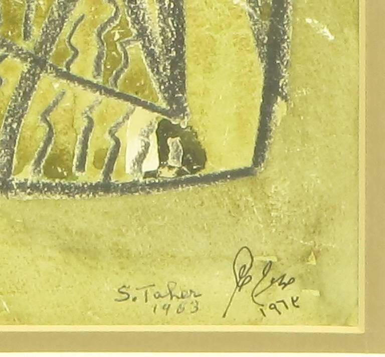 Mid-20th Century Salah Taher Water Color and Charcoal, circa 1963 For Sale