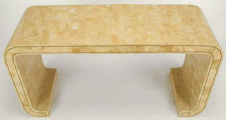 Maitland Smith Tessellated Coral Stone and Brass Inlay Console Table In Excellent Condition For Sale In Chicago, IL