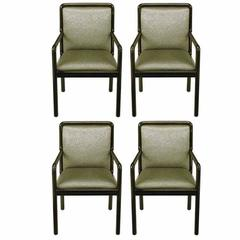 Four Martin Brattrud Ebonized and Upholstered Armchairs