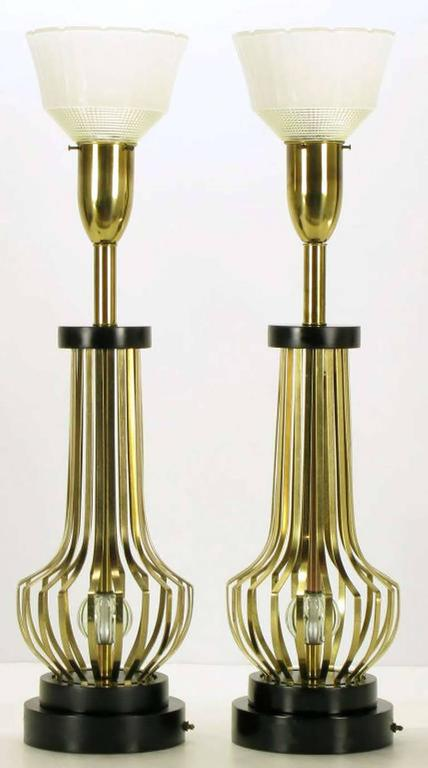 Mid-Century Modern Pair of Rembrandt Brass Open Rib Table Lamps with Crystal Ball Centres For Sale