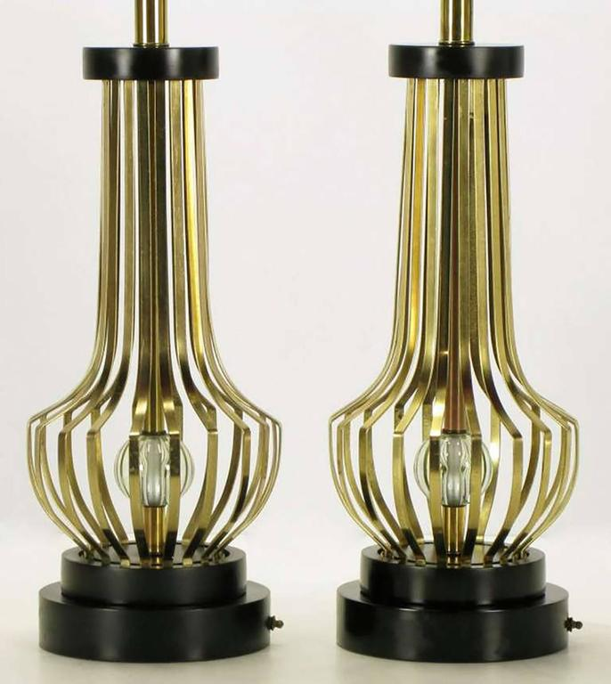 American Pair of Rembrandt Brass Open Rib Table Lamps with Crystal Ball Centres For Sale