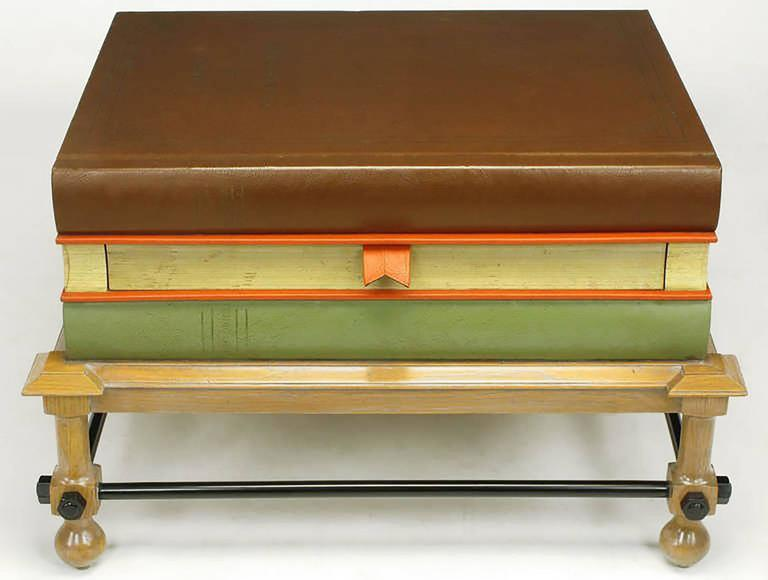 Pair of very rare John Dickinson bibliotheque end tables, a very limited edition design from Drexel's Et Cetera collection. Three large Shakespeare books make up the tabletop, with the middle book having a pull-out drawer. Beveled oak moulding and