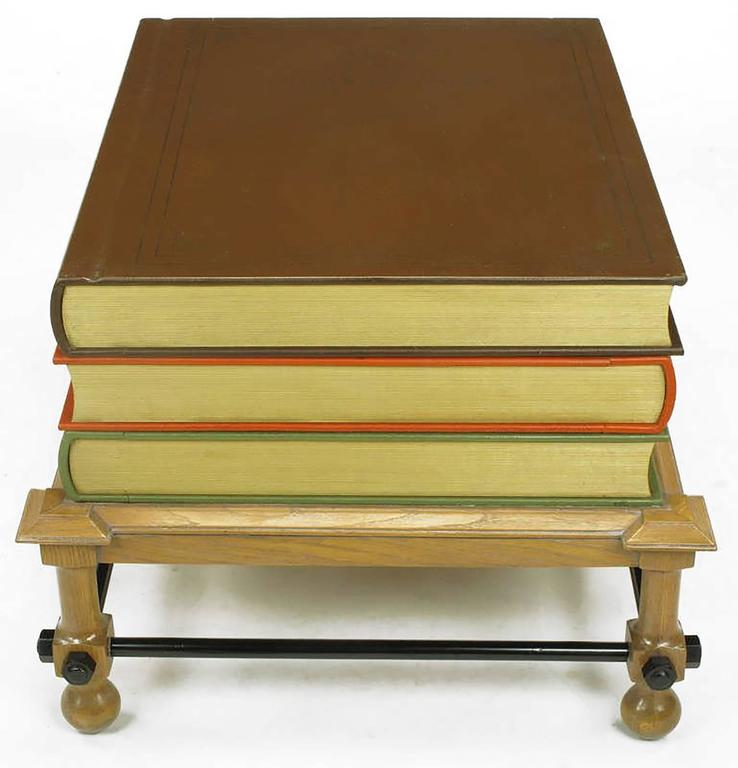 American Pair of Rare John Dickinson Stacked Books End Tables For Sale
