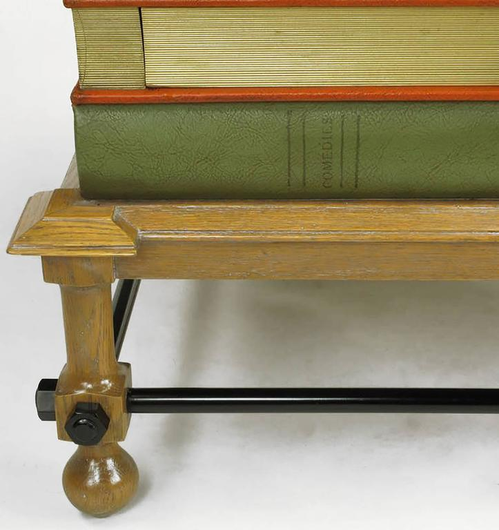 Metal Pair of Rare John Dickinson Stacked Books End Tables For Sale