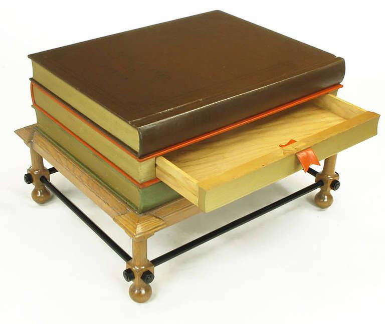 Pair of Rare John Dickinson Stacked Books End Tables For Sale 1