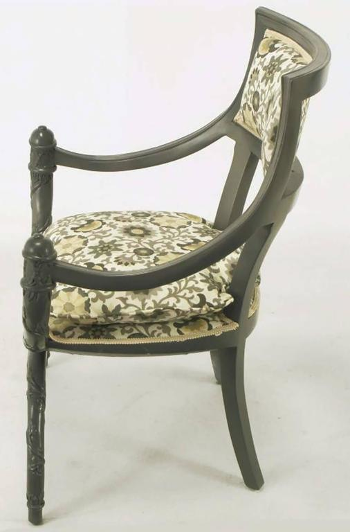 Pair of Carved Wood Curule Chairs in Slate Grey Lacquer In Excellent Condition For Sale In Chicago, IL