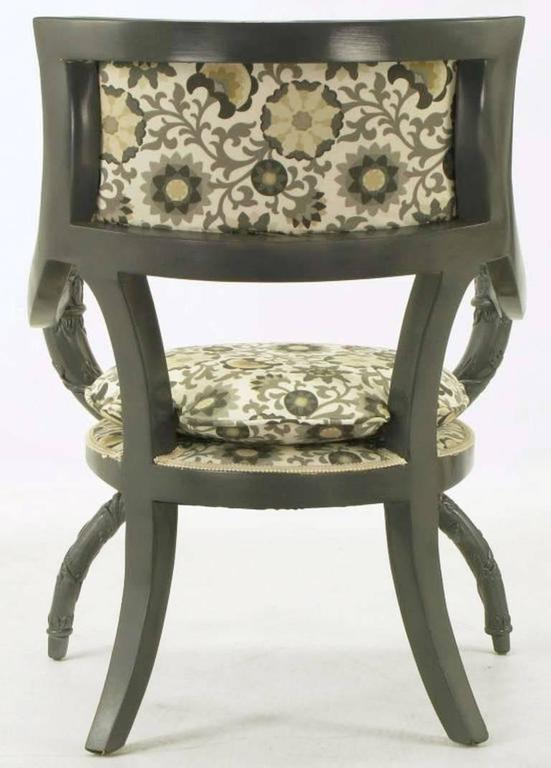 Upholstery Pair of Carved Wood Curule Chairs in Slate Grey Lacquer For Sale