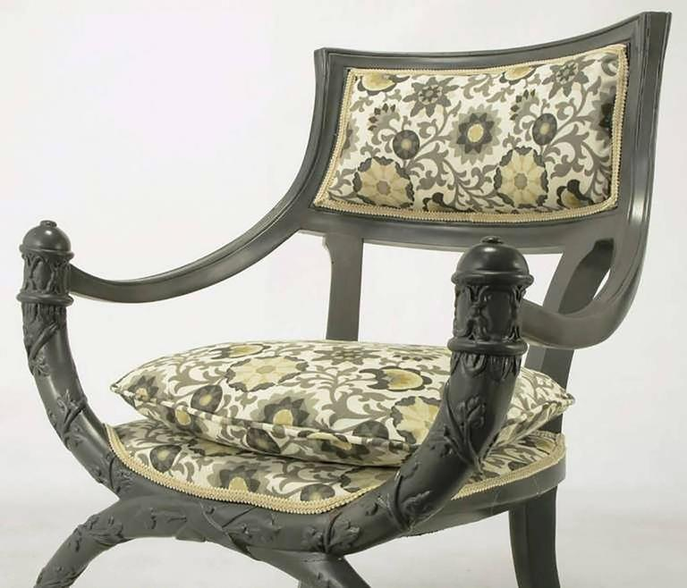 Pair of Carved Wood Curule Chairs in Slate Grey Lacquer For Sale 2