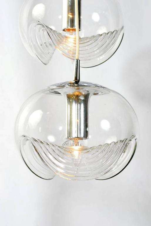 Mid-Century Modern Koch & Lowy Chrome and Blown Glass Triple Pendant Fixture For Sale