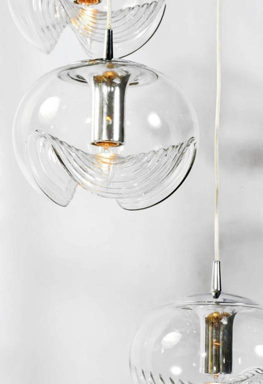 American Koch & Lowy Chrome and Blown Glass Triple Pendant Fixture For Sale