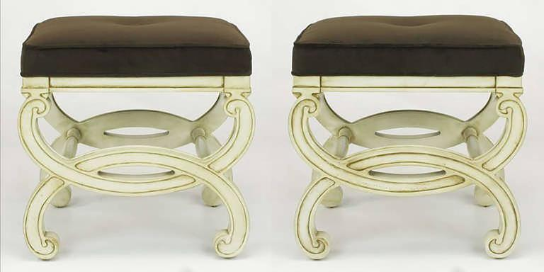 American Pair of Regency Style Interlocking Curule Benches in Glazed Ivory & Sable Velvet For Sale