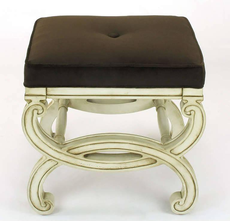 Pair of Regency Style Interlocking Curule Benches in Glazed Ivory & Sable Velvet In Excellent Condition For Sale In Chicago, IL