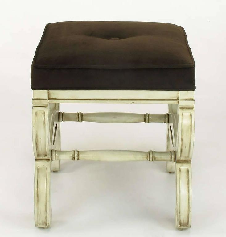 Pair of Regency Style Interlocking Curule Benches in Glazed Ivory & Sable Velvet For Sale 1