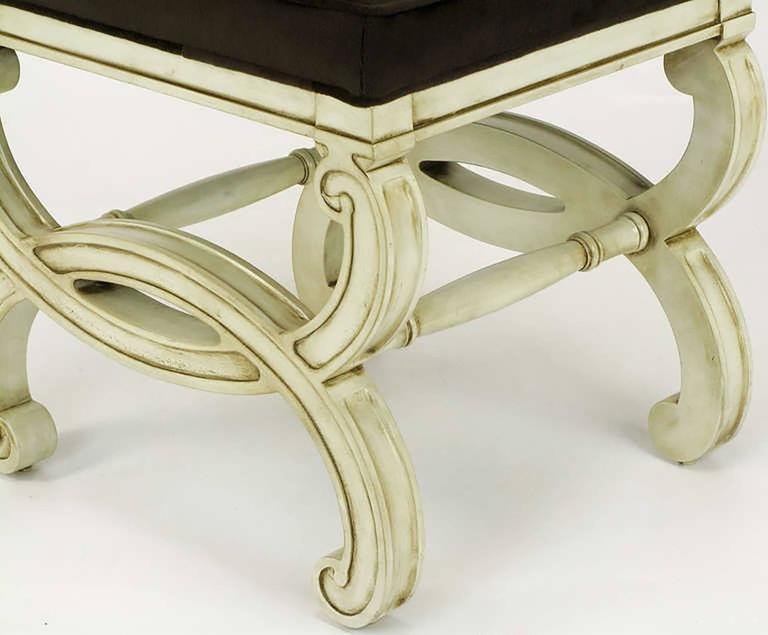 Pair of Regency Style Interlocking Curule Benches in Glazed Ivory & Sable Velvet For Sale 2