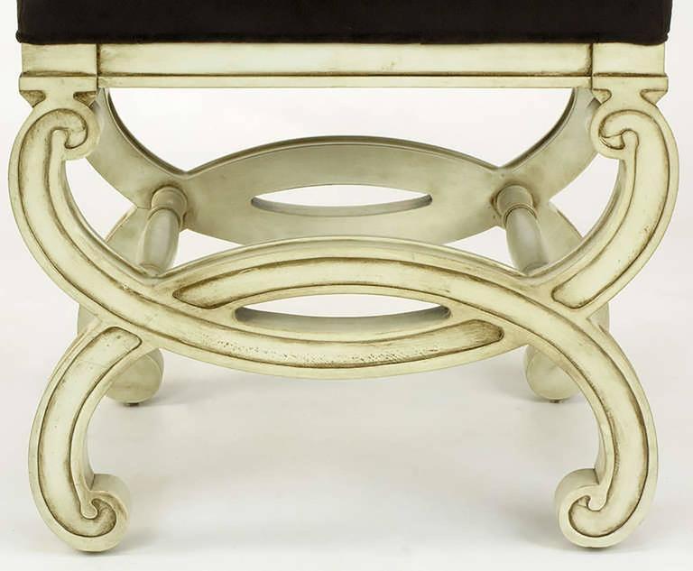 Pair of Regency Style Interlocking Curule Benches in Glazed Ivory & Sable Velvet For Sale 3