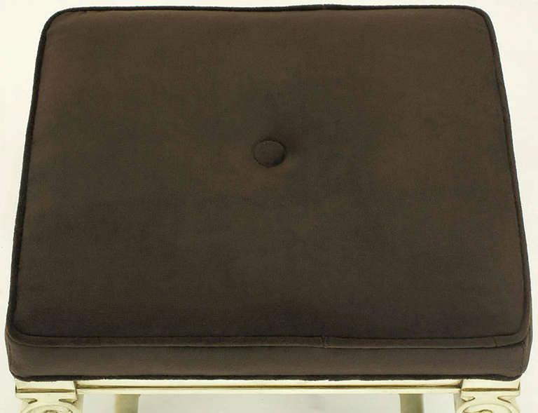 Pair of Regency Style Interlocking Curule Benches in Glazed Ivory & Sable Velvet For Sale 4