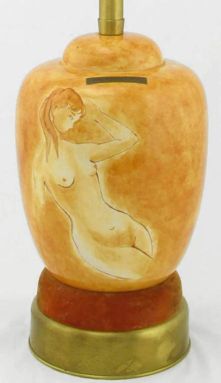 Pair of Sèvres Porcelain Hand-Painted Female Nude Table Lamps In Good Condition For Sale In Chicago, IL