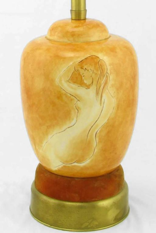 Mid-20th Century Pair of Sèvres Porcelain Hand-Painted Female Nude Table Lamps For Sale