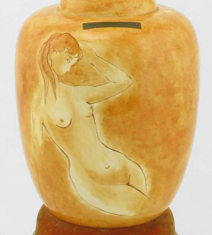 Brass Pair of Sèvres Porcelain Hand-Painted Female Nude Table Lamps For Sale