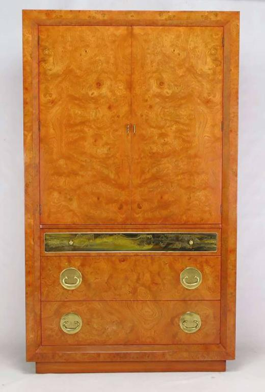 Rare Mastercraft Tangerine Amboyna Burl and Acid Etched Brass Wardrobe Cabinet 2