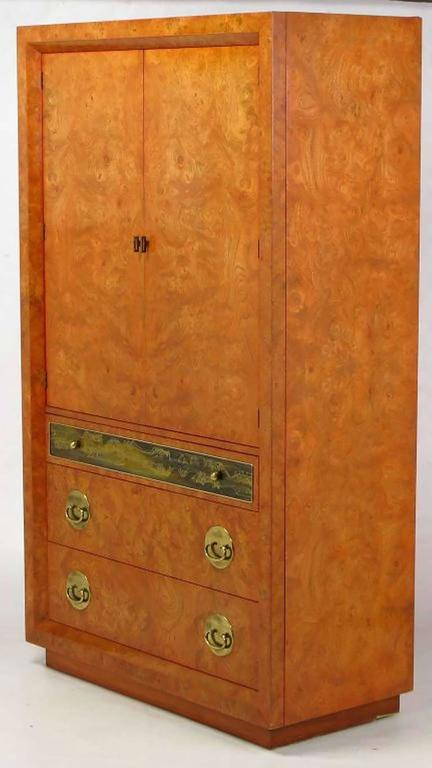 Rare Mastercraft Tangerine Amboyna Burl and Acid Etched Brass Wardrobe Cabinet 3