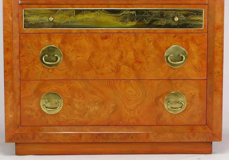 Rare Mastercraft Tangerine Amboyna Burl and Acid Etched Brass Wardrobe Cabinet 7