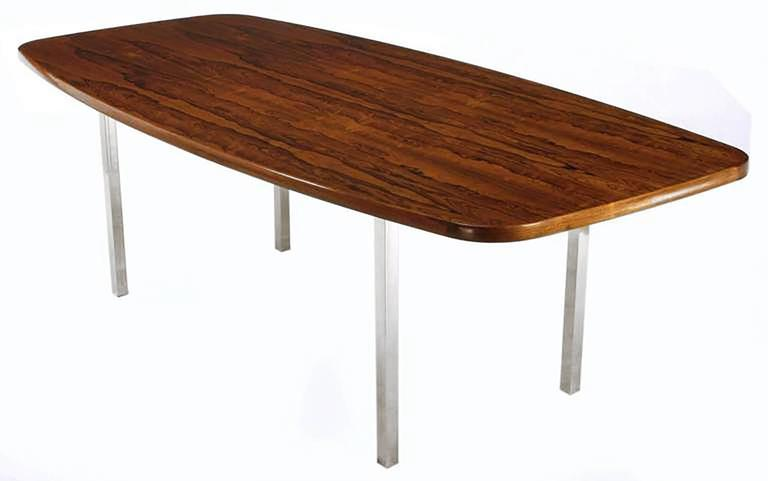 Dunbar Rosewood Dining Table with Polished Stainless Steel Base 3
