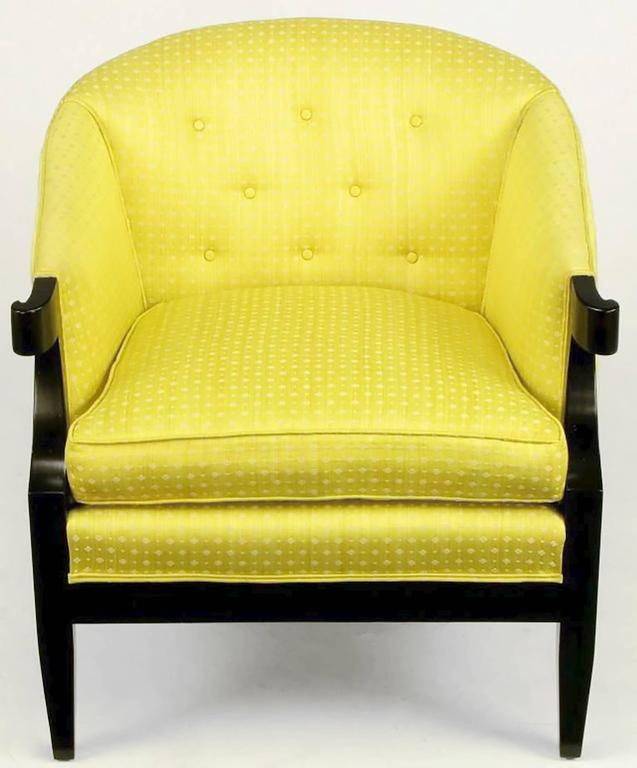 Pair of Baker Club Chairs in Embroidered Saffron Silk 2
