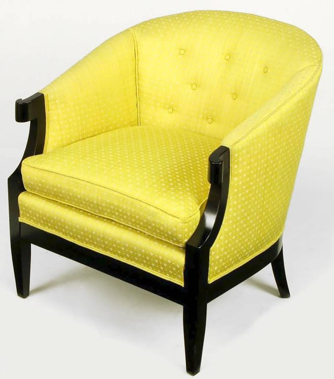 Pair of Baker Club Chairs in Embroidered Saffron Silk 3