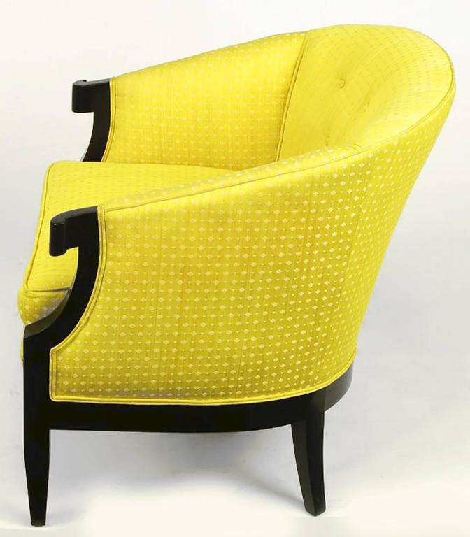 Pair of Baker Club Chairs in Embroidered Saffron Silk 4