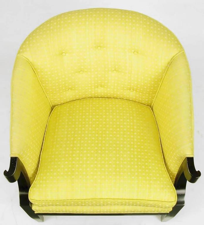 Pair of Baker Club Chairs in Embroidered Saffron Silk 6