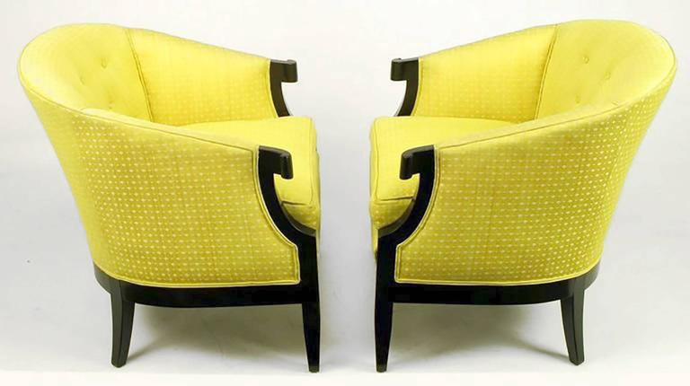 Pair of Baker Club Chairs in Embroidered Saffron Silk 9