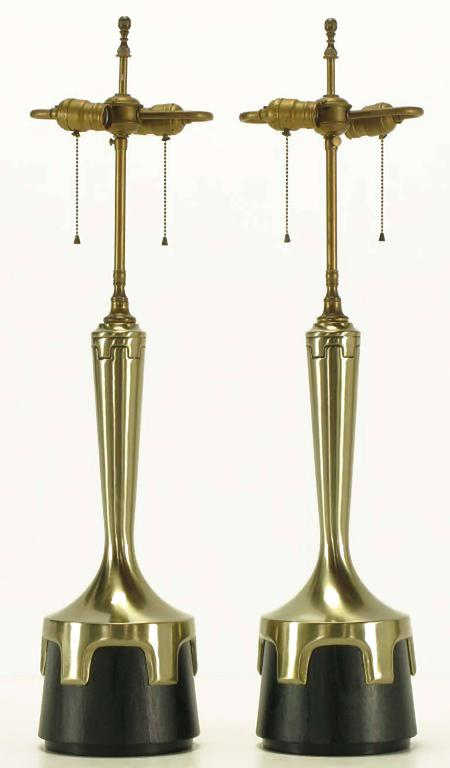 Pair of Frederick Cooper Nickel and Ebonized Walnut Table Lamps 2
