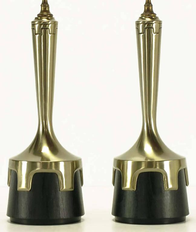 Pair of Frederick Cooper Nickel and Ebonized Walnut Table Lamps 3